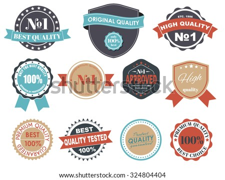 Design of labels, emblems and logos  in a retro style. The best premium quality. Vector illustration. Set.