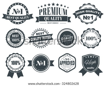 Design of labels, emblems and logos with a quality mark. The best premium quality. Vector illustration. Set. - stock vector