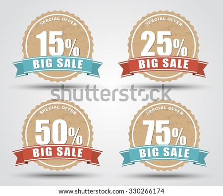 Design of labels, tags, banners for sale in retro style with an indication of the discount percentage discount. Vector illustration. Set. - stock vector