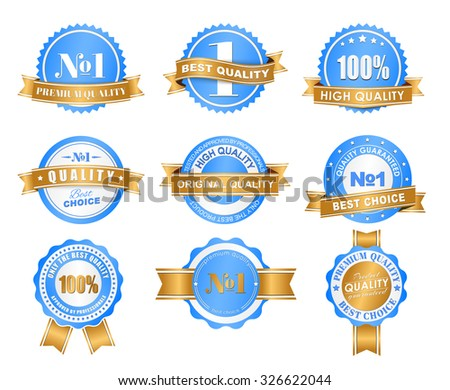 Design of labels, tags, logos blue with a gold ribbon with marks of quality. Vector illustration. Set - stock vector