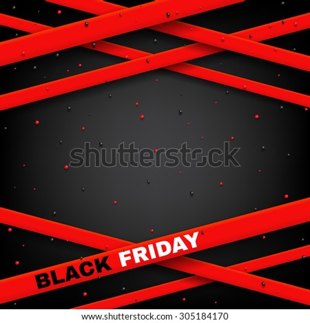 Design of poster of Black Friday sale vector illustration. Vector background of sale with red ribbon, red and black confetti and place for text. - stock vector