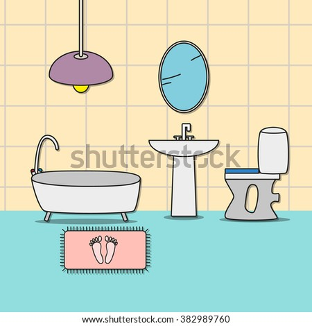 Design of room - bathroom with toilet, bathtub, sink and mirror. Vector illustration for interior.