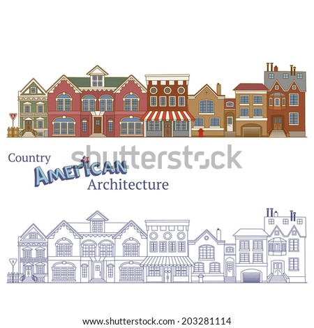 Design of Suburban in United States and Typical Country American Architecture - stock vector
