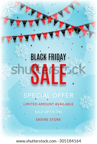 Design of the flyer of Black Friday sale with snow vector illustration. Vector illustration of sale with realistic garland with flags and place for text on an ice background. - stock vector