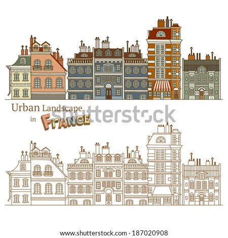 Design of Urban Landscape and Typical French Architecture - stock vector