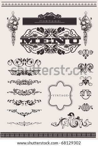 Design Ornate Elements And Page Decoration. - stock vector