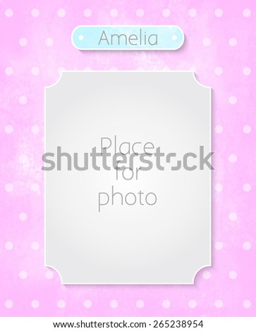 Design page template for the album. Frame for photo on pink watercolor background with polka dot pattern - stock vector