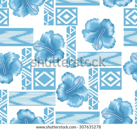 Design Pattern summer style with blue flowers on background tribal style.
