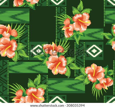 Design Pattern summer style with summer flowers on background tribal style.