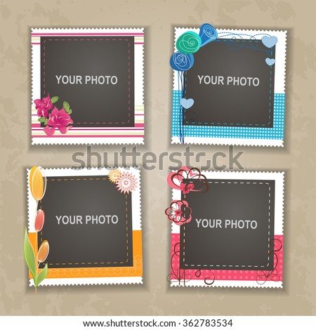 Design photo frame on nice background. Decorative template for baby, family or memories. Scrapbook concept, vector illustration.  - stock vector