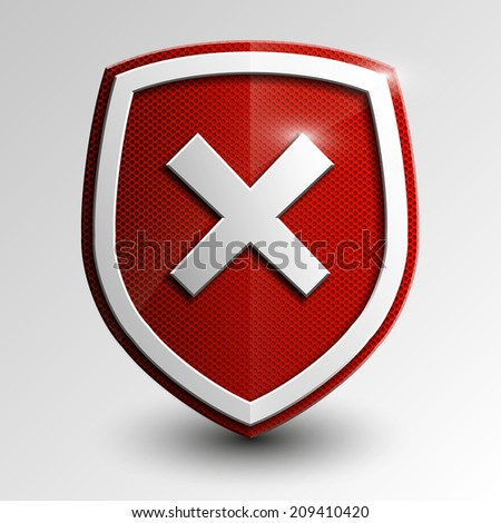Design red shield with cross mark. Vector illustration - stock vector