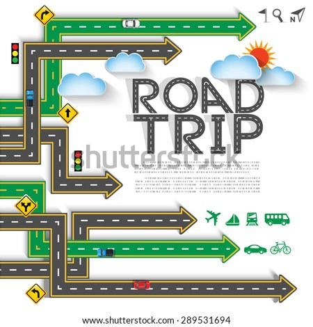 Design road & street arrow with transportation icon set, vector template background, Illustration EPS 10. - stock vector