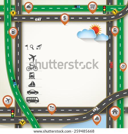 Design Road / Street Frame with Map Pointer, GPS and Transportation Icon Set, Vector Template Background, Illustration EPS 10. - stock vector