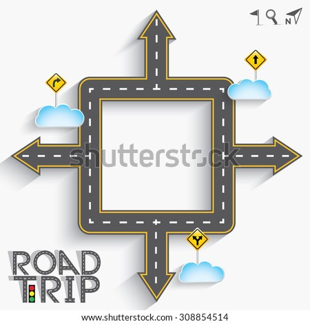 "Design Road & Street frame with Words ""Road Trip"" and Icon Set, Vector EPS10. - stock vector"