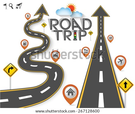 "Design Road & Street Template Background with Words ""Road Trip"" and Map Pointer Icon Set, Vector EPS10. - stock vector"
