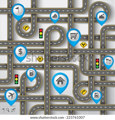 Design Road & Street with Map Pointer - Marker Icon Set, Travel Concept, Vector EPS10