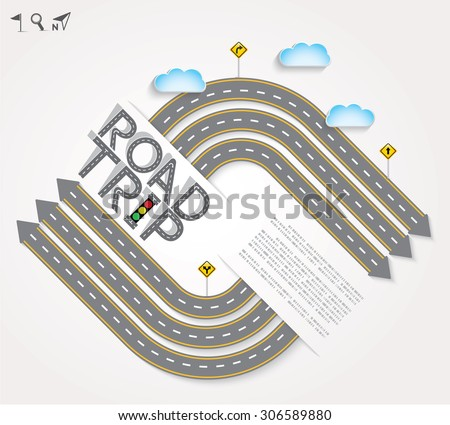 "Design Road & Street with Words ""Road Trip"" and Icon Set, Template background, Vector EPS10. - stock vector"