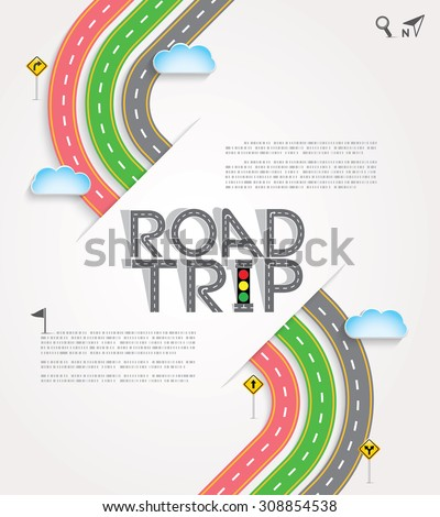 "Design Road & Street with Words ""Road Trip"" and traffic signs, Template background, Vector EPS10. - stock vector"