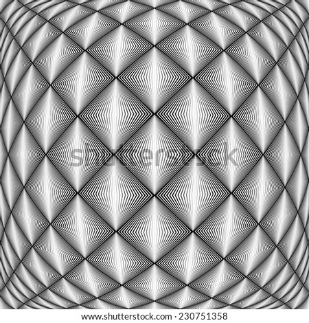 Design seamless diamond trellised pattern. Abstract geometric monochrome background. Convex texture. Vector art. No gradient - stock vector