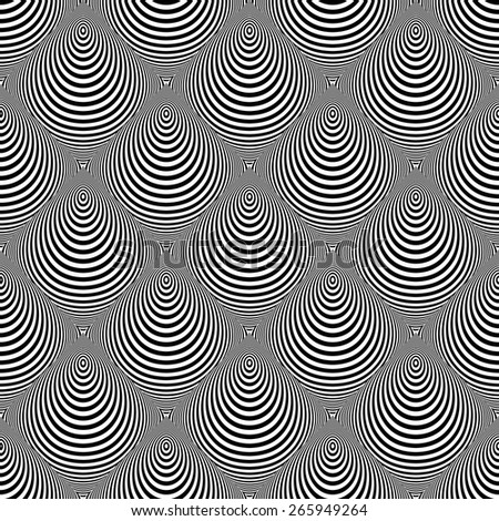 Design seamless monochrome cone illusion background. Abstract striped distortion pattern. Vector art - stock vector