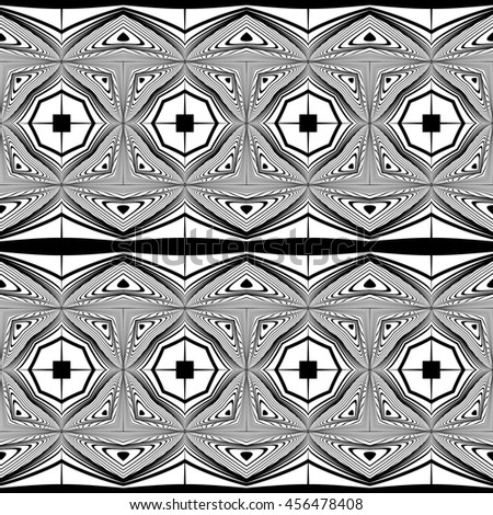 Design seamless monochrome decorative pattern. Abstract lines textured background. Vector art. No gradient - stock vector