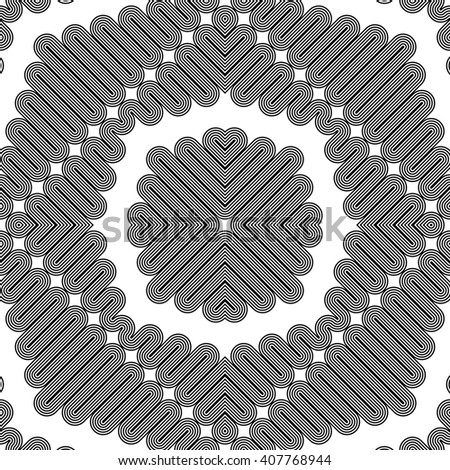 Design seamless monochrome decorative pattern. Abstract striped background. Vector art. No gradient - stock vector