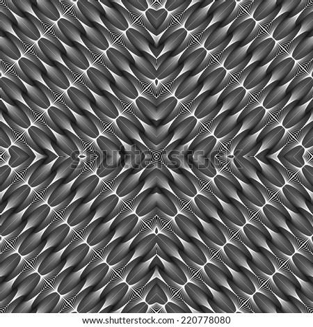 Design seamless monochrome diamond geometric pattern. Abstract diagonal stripy background. Vector art - stock vector