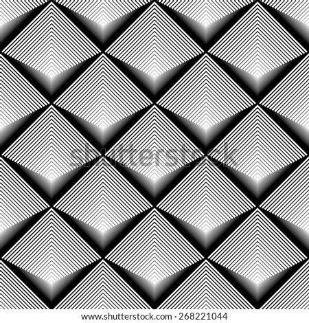 Design seamless monochrome diamond geometric pattern. Abstract striped textured background. Vector art. No gradient - stock vector