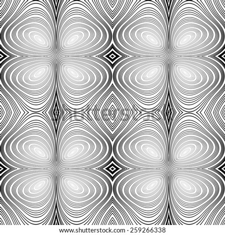 Design seamless monochrome ellipse background. Abstract stripy warped twisted pattern. Vector art. No gradient - stock vector