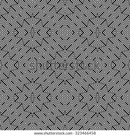 Design seamless monochrome geometric pattern. Abstract striped background. Vector art - stock vector