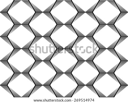 Design seamless monochrome geometric pattern. Abstract striped zigzag background. Vector art. No gradient - stock vector