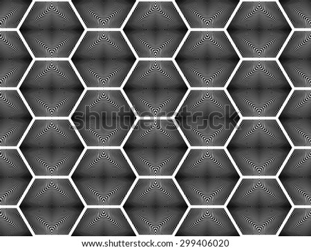 Design seamless monochrome hexagon geometric pattern. Abstract striped background. Vector art. No gradient - stock vector