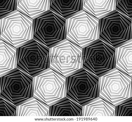 Design seamless monochrome hexagon geometric pattern. Abstract whirl lines twisted textured background. Vector art