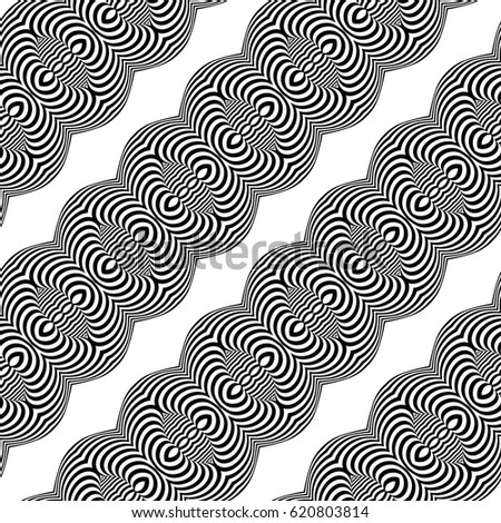 Design seamless monochrome illusion background. Abstract stripe pattern. Vector art
