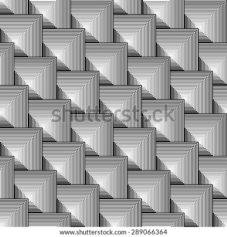 Design seamless monochrome square geometric pattern. Abstract striped textured background. Vector art. No gradient - stock vector