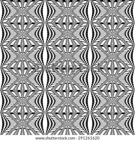 Design seamless monochrome stripy pattern. Abstract warped textured background. Vector art - stock vector