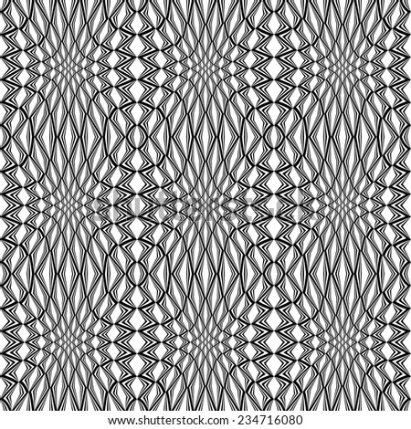 Design seamless monochrome stripy pattern. Abstract warped textured twisting background. Vector art - stock vector