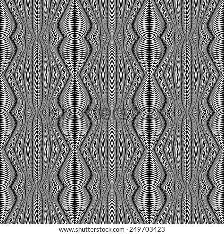 Design seamless monochrome stripy pattern. Abstract warped twisted textured background. Vector art. No gradient