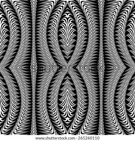 Design seamless monochrome stripy pattern. Abstract warped twisting textured background. Vector art. No gradient - stock vector