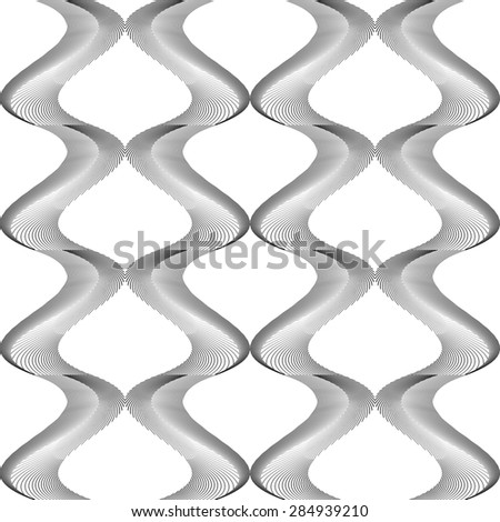 Design seamless monochrome twisting pattern. Abstract warped textured background. Vector art. No gradient - stock vector