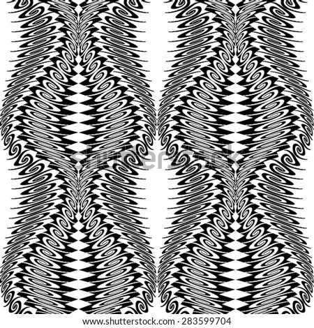 Design seamless monochrome vertical decorative pattern. Abstract background. Vector art - stock vector