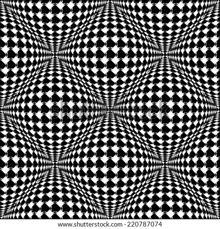Design seamless monochrome warped checked pattern. Abstract convex textured background. Vector art - stock vector