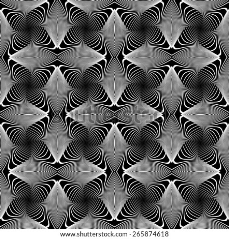 Design seamless monochrome whirl lines background. Abstract striped distortion pattern. Vector art. No gradient - stock vector