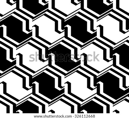 Design seamless monochrome zigzag geometric pattern. Abstract striped diagonal background. Vector art - stock vector