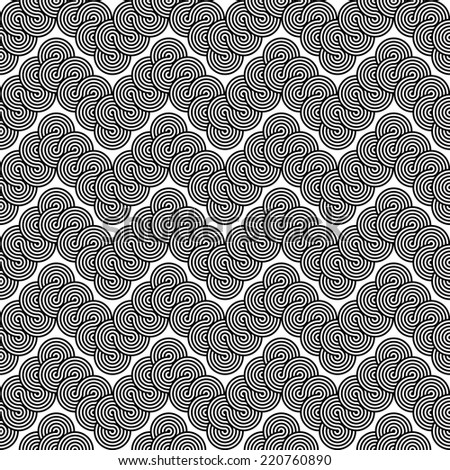 Design seamless monochrome zigzag lacy pattern. Abstract stripy background. Vector art - stock vector