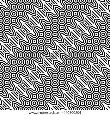 Design seamless monochrome zigzag pattern. Abstract striped background. Vector art - stock vector