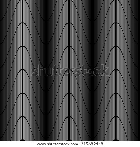 Design seamless monochrome zigzag wave pattern. Abstract stripy background. Vector art. No gradient - stock vector