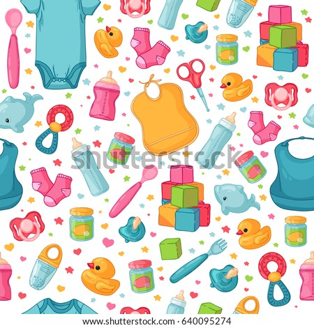 Design seamless  pattern with childhood's items .Ã?ackground  with newborn staff for decorating flyers. Backdrop for card, invitation for babies shower with infant clothes, toys, accessories . Vector