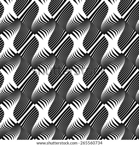 Design seamless striped decorative pattern. Abstract monochrome waving lines background. Vector art. No gradient - stock vector