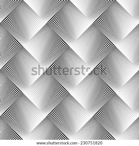 Design seamless wave geometric pattern. Abstract monochrome diamond background. Vector art. No gradient - stock vector